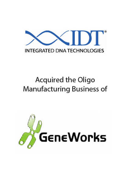 IDT acquired the Oligo Manufacturing Business of GeneWorks February 8, 2017